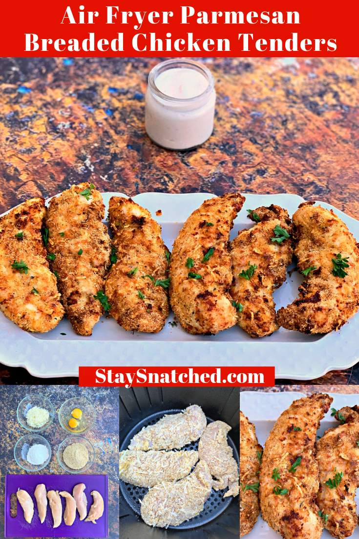 Easy Air Fryer Parmesan Breaded Fried Chicken Tenders (Strips) is a quick recipe that includes cook time for how long to cook crispy chicken fingers (including frozen) using a Nuwave, Philips, or Power Air Fryer. Want to make keto chicken tenders without breading? Simply omit the breadcrumbs. #AirFryerRecipes #AirFryerChicken
