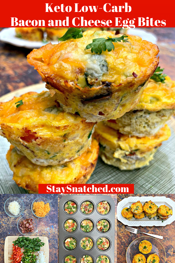 Keto Low-Carb Breakfast Bacon and Cheese Egg Muffins (Bites) are quick and easy cups loaded with your favorite meat and veggies. If you are looking for a carb-free, no-carb breakfast, you can use ham, spinach, or whatever works best. Hold the meat if you prefer vegetarian. These muffins are freezer-friendly, great for meal prep, or keto snacks on-the-go. This post includes the best low carb breakfast ideas. #KetoBreakfast #KetoEggBites #KetoBreakfast