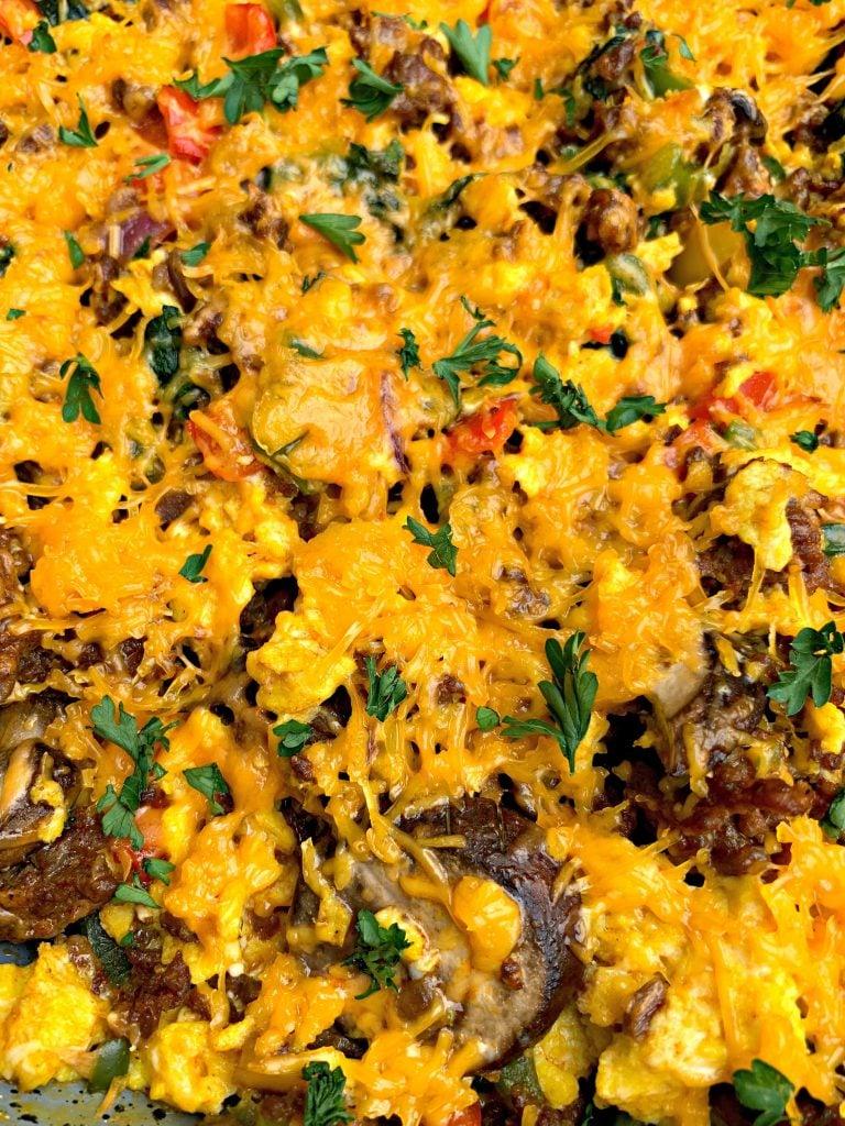 keto low carb sausage breakfast scramble