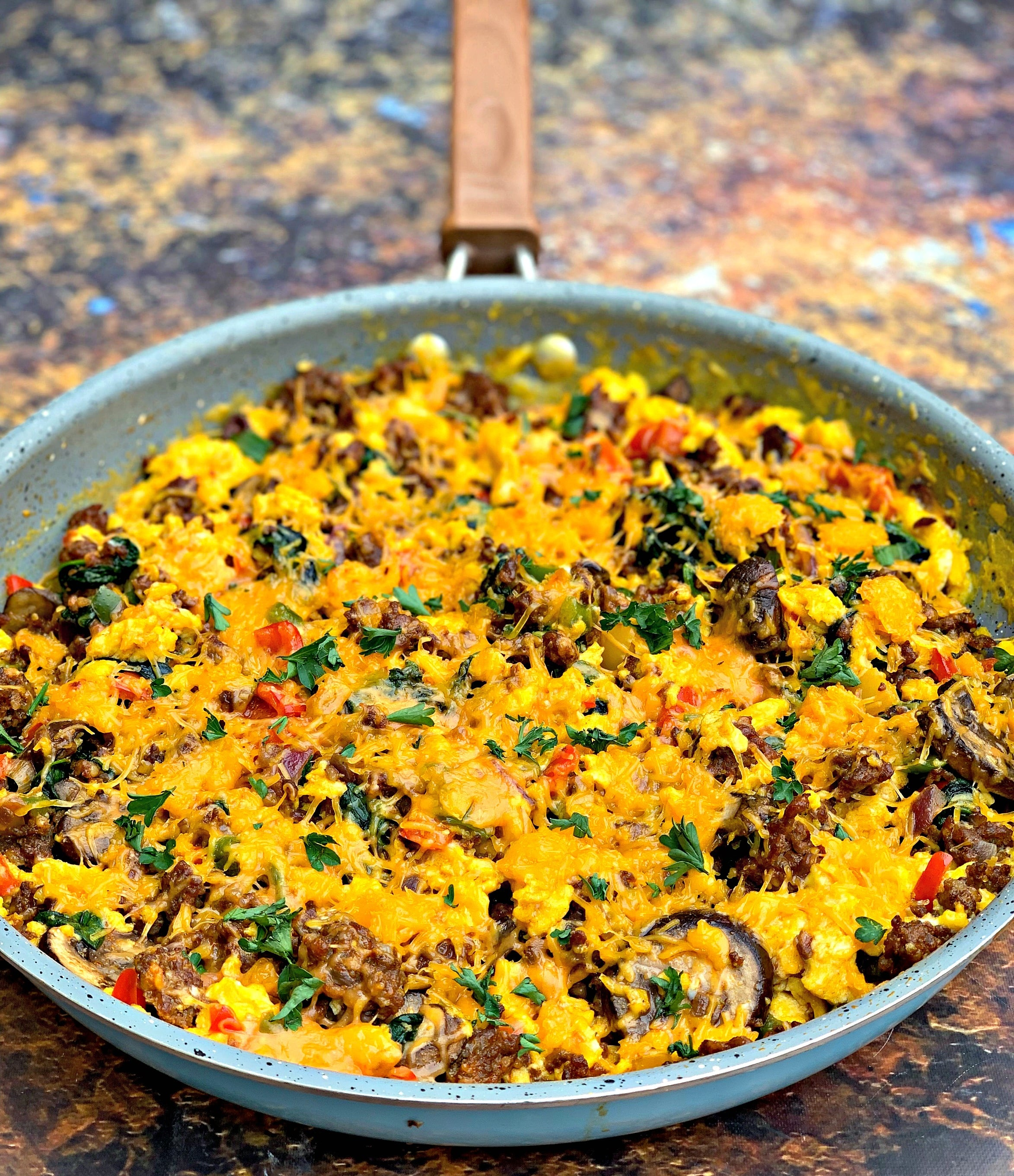 keto low carb sausage breakfast scramble in a skillet