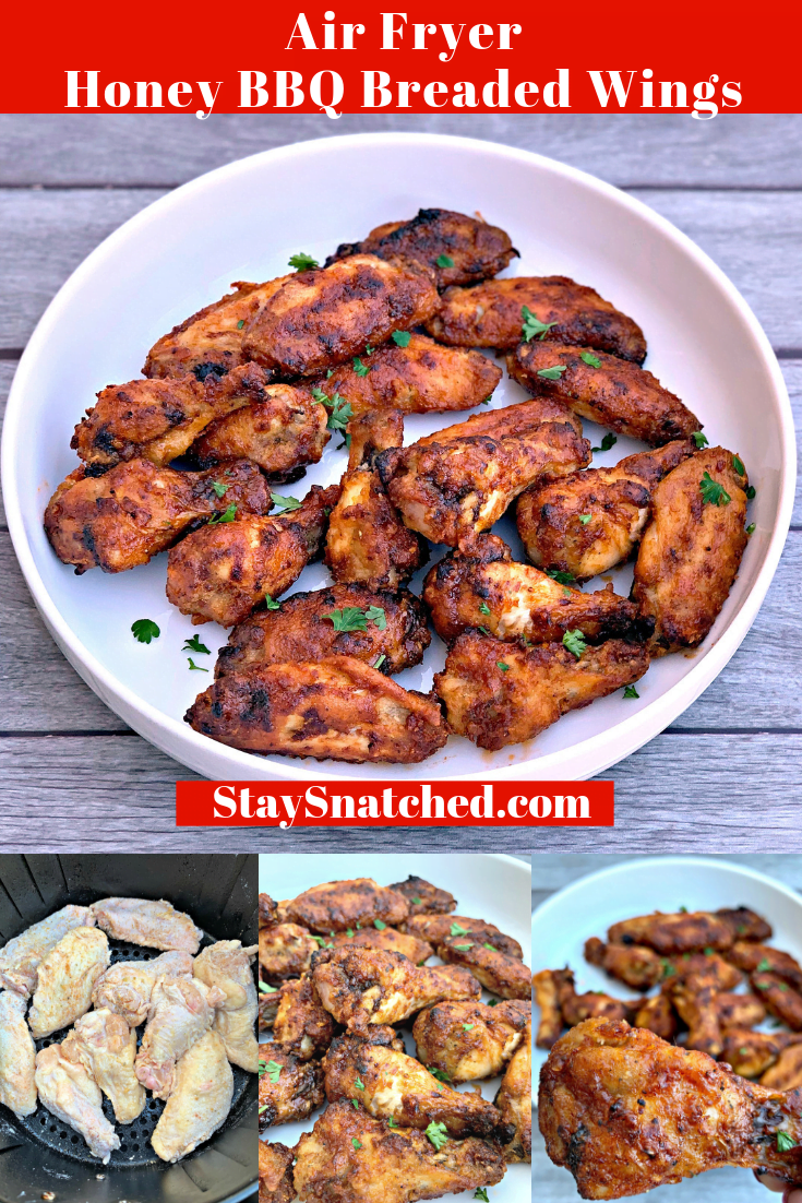 Air Fryer Breaded Honey BBQ Fried Chicken Wings is a quick and easy recipe for crispy and crunchy wings. You can even make chicken thighs if you prefer. This recipe includes the cook time and instructions on how long to cook frozen wings. #AirFryerRecipes #AirFryerHoneyBBQWings