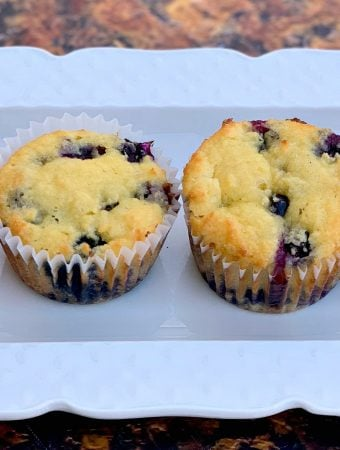 keto blueberry muffins on a white plate