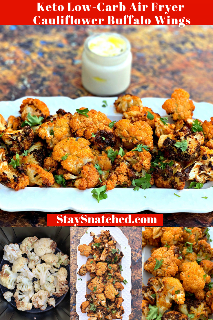 Keto Low-Carb Vegetarian Air Fryer Cauliflower Buffalo Wings + {VIDEO} is a quick recipe that provides instructions on how to cook and make whole cauliflower in the air fryer. These wings are also gluten-free. Looking for vegan cauliflower wings? Simply omit the butter in this recipe. #AirFryerRecipes #AirFryerKetoRecipes #AirFryerCauliflower #AirFryerVegetarianRecipes