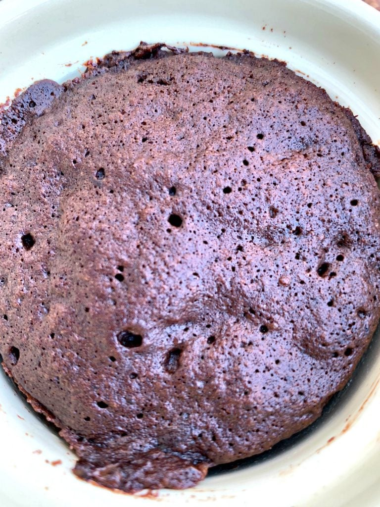 keto chocolate mug cake close up