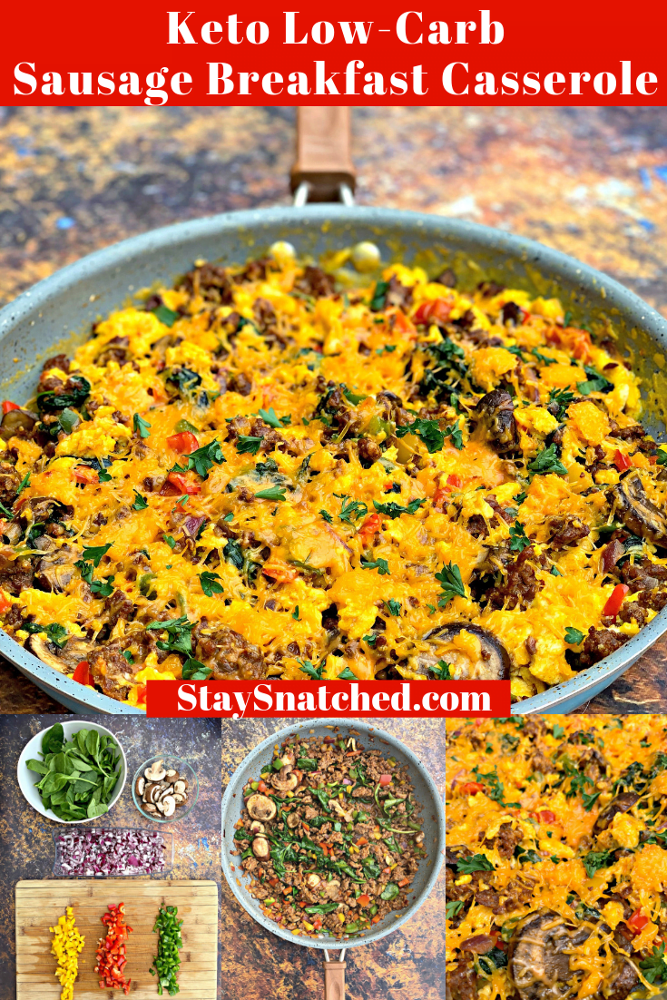 Easy Keto Low-Carb Eggs, Cheese, and Chorizo Sausage Breakfast Meal Prep is a ketogenic no-bake casserole recipe that includes great breakfast ideas for make ahead meals. This skillet dish is similar to a breakfast casserole and includes keto-friendly sausage and peppers, along with other vegetables. #KetoRecipes #KetoBreakfast #KetoBreakfastIdeas