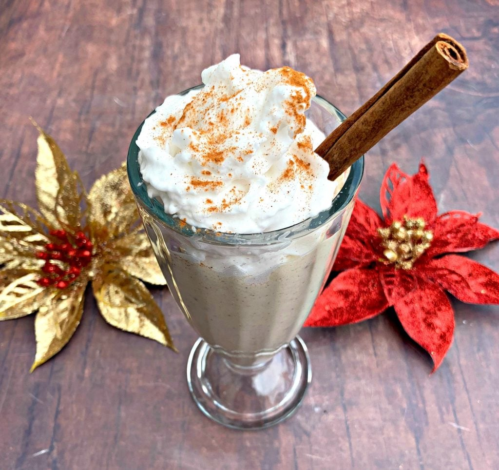 keto low carb egg nog with whipped cream