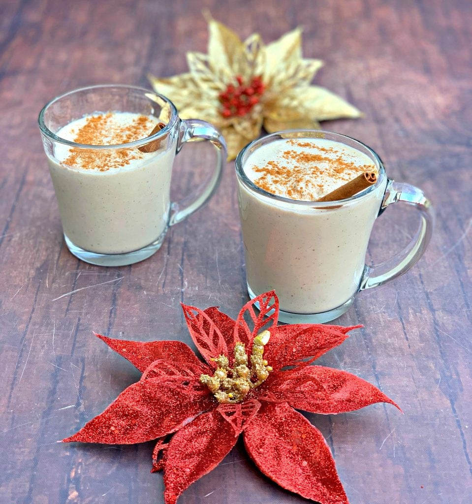 keto low carb egg nog in mugs