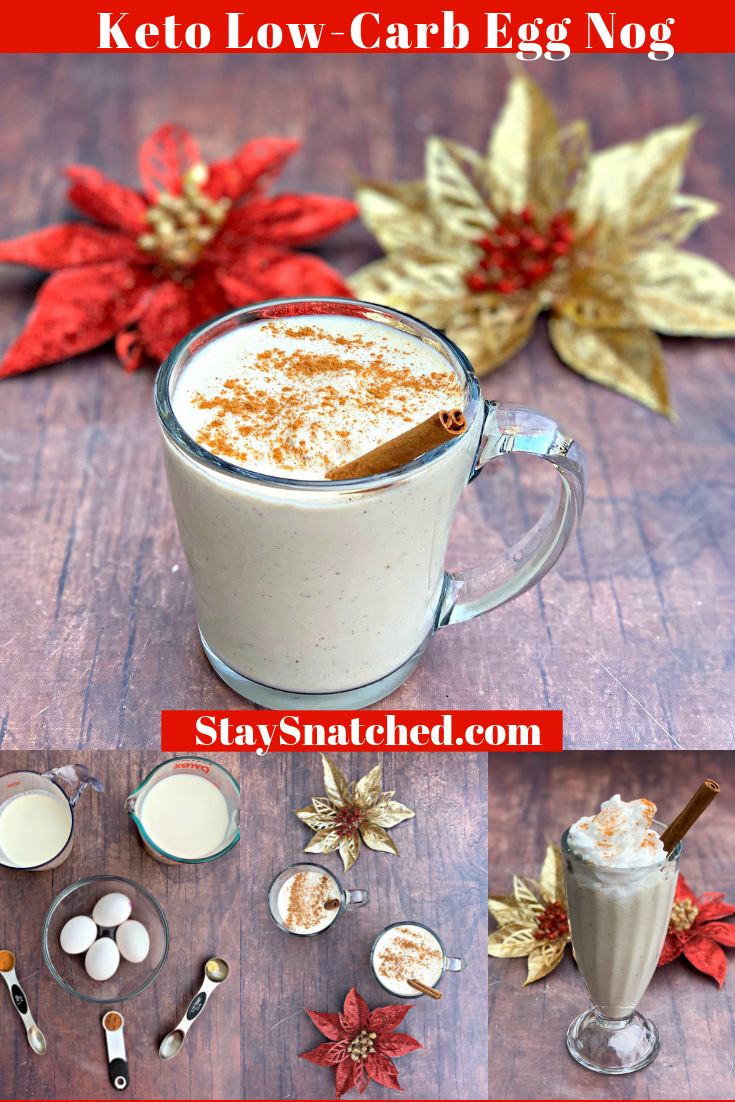 Keto Low-Carb Holiday Eggnog Drink is a quick and easy recipe perfect for Thanksgiving, Christmas, and New Years. This keto-friendly beverage can also transform into a cocktail if you wish to add your favorite keto alcohol. This recipe uses almond milk, heavy cream, nutmeg, and cinnamon to produce a delicious drink the whole family will love! #KetoRecipes #KetoHolidayDrink #KetoDrink
