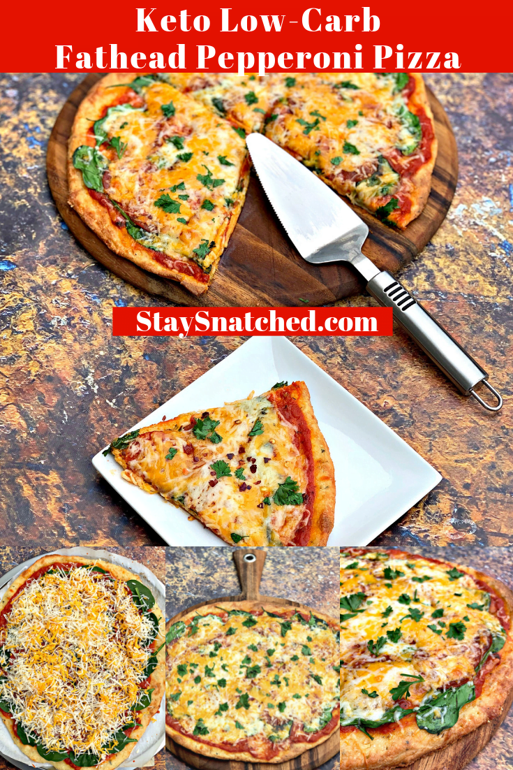 Keto Low-Carb Fathead Three Cheese Pepperoni Pizza is the best quick and easy healthy recipe that uses almond flour, cream cheese, and mozzarella for the pizza base and crust. Load this practically carb-free pizza with your favorite toppings like marinara pizza sauce and pepperoni. This recipe also includes nutrition macros, calories, and relevant information. #KetoRecipes #KetoPizza