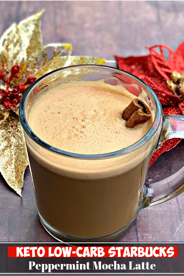 Keto Low-Carb Starbucks Copycat Peppermint Mocha Latte is a quick and easy coffee recipe that uses cacao creamer made with grass-fed ghee butter and MCT Oil to ensure a nice dose of healthy fats. Looking for a skinny, sugar-free mocha for Christmas and the holiday season? This recipe is perfect for keto diets and lifestyles! #KetoRecipes #KetoLatte #KetoCoffee