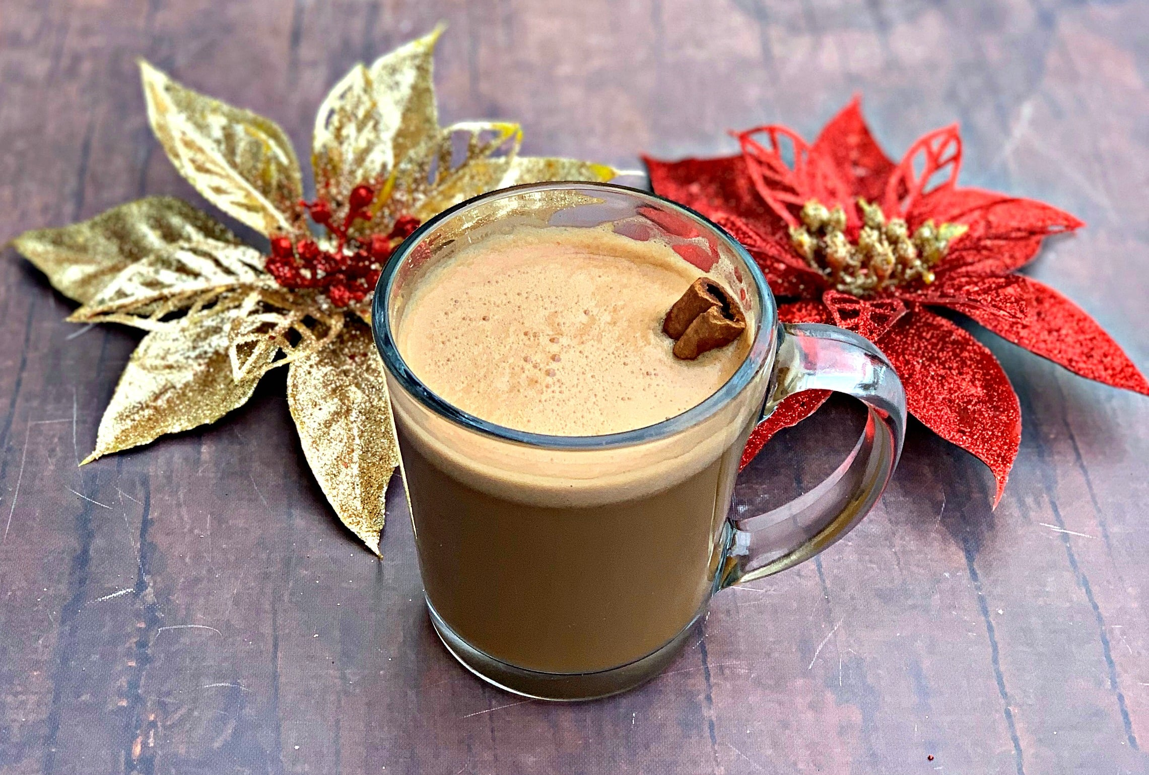 keto low carb peppermint mocha with christmas decorations