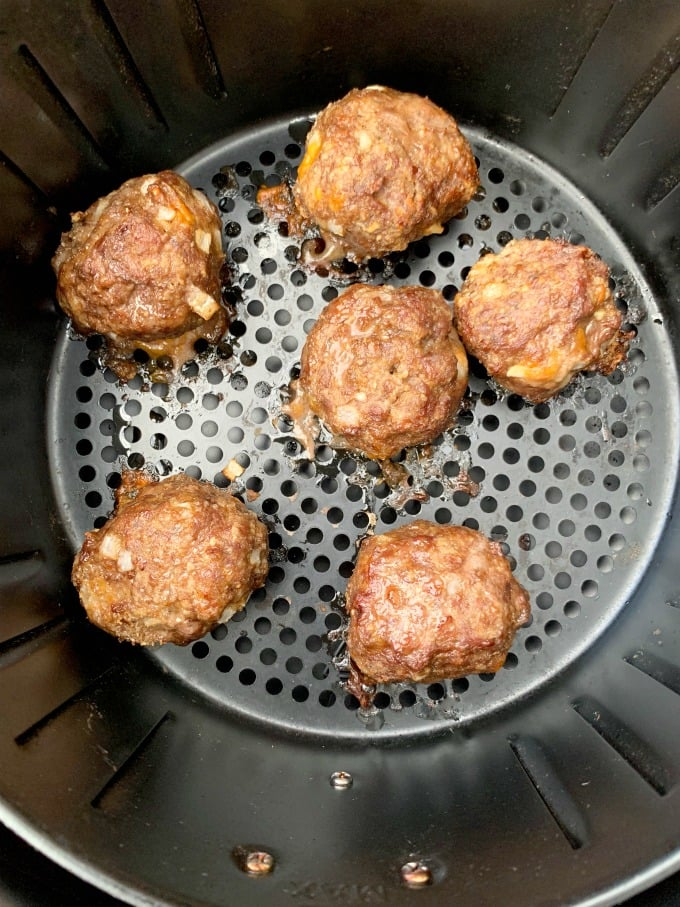 keto low carb meatballs in an air fryer