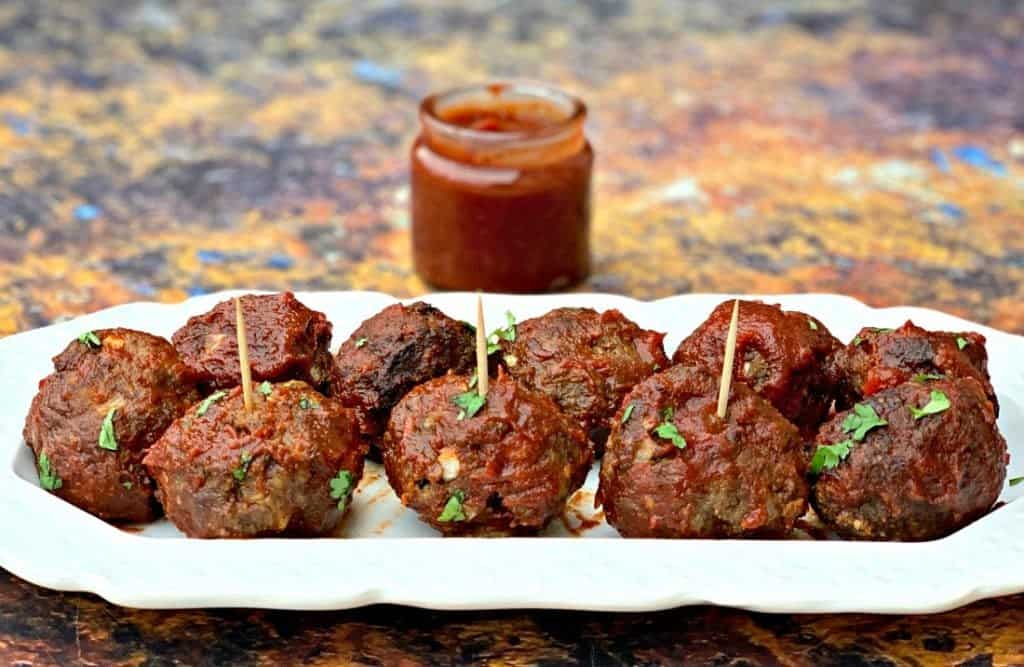 keto low carb air fryer meatballs with bbq sauce