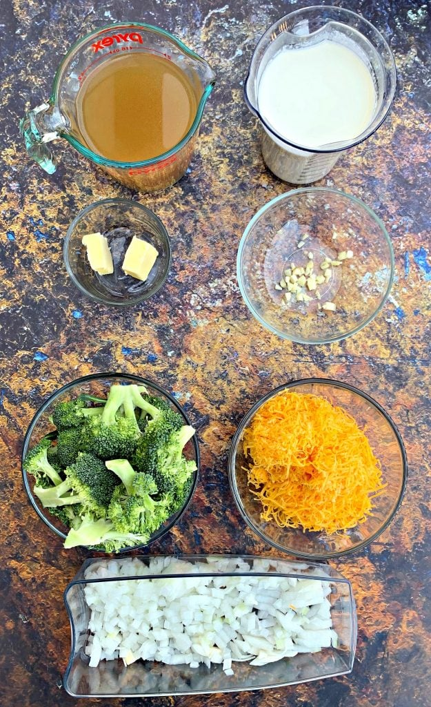 ingredients for keto low carb instant pot broccoli cheddar soup