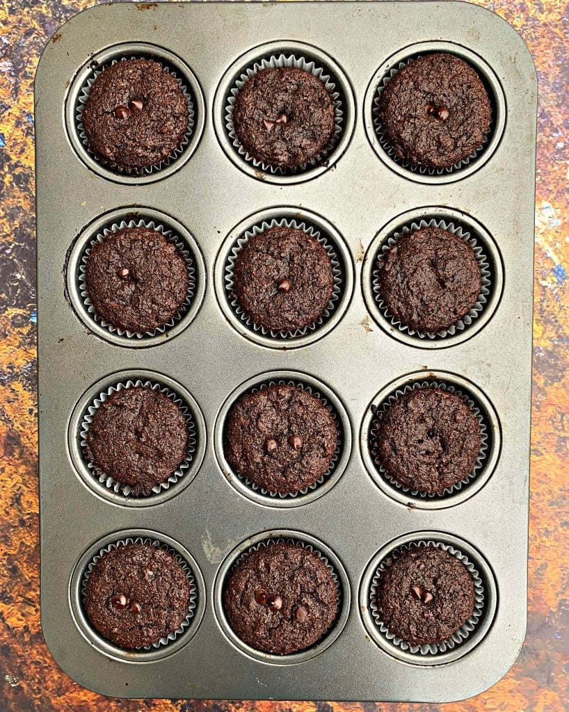 keto low carb chocolate muffins in a muffin tin