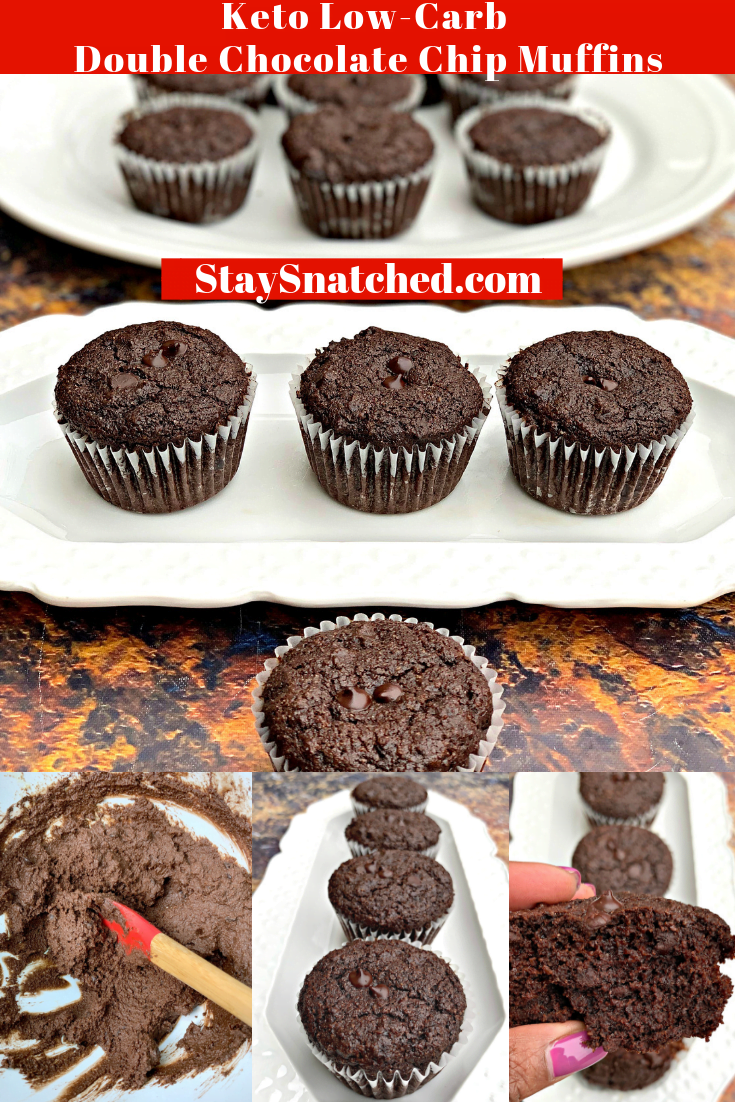 Keto Low-Carb Double Chocolate Chip Muffins (Gluten-Free) is a quick and easy almond flour recipe. This ketogenic dessert does not use coconut flour and is freezer-friendly. This recipe is kid-friendly and uses unsweetened cocoa and sugar-free chocolate chips. With only 2 net carbs per serving, if you are looking for the best keto diet bread with sweetness, this recipe is for you! #KetoRecipes #KetoDessert #KetoChocolate