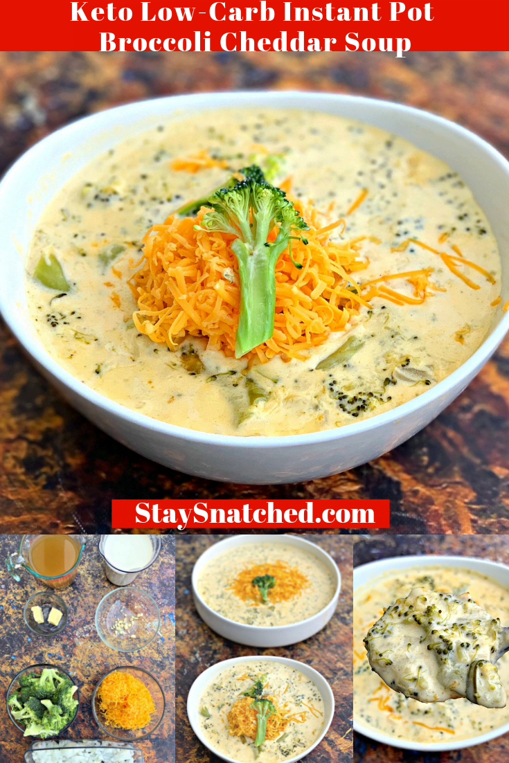 Easy Keto Low-Carb Instant Pot Panera Broccoli Cheddar Cheese Soup is the best, quick pressure cooker recipe that includes stovetop directions, too. This copycat recipe is healthy, cheesy, and gluten-free, best of all, it's keto-friendly. This meal-prep dish is loaded with cream, fresh or frozen broccoli and includes the macros and information about carbs found in broccoli.#KetoRecipes #InstantPotRecipes #KetoSoup #InstantPotSoup
