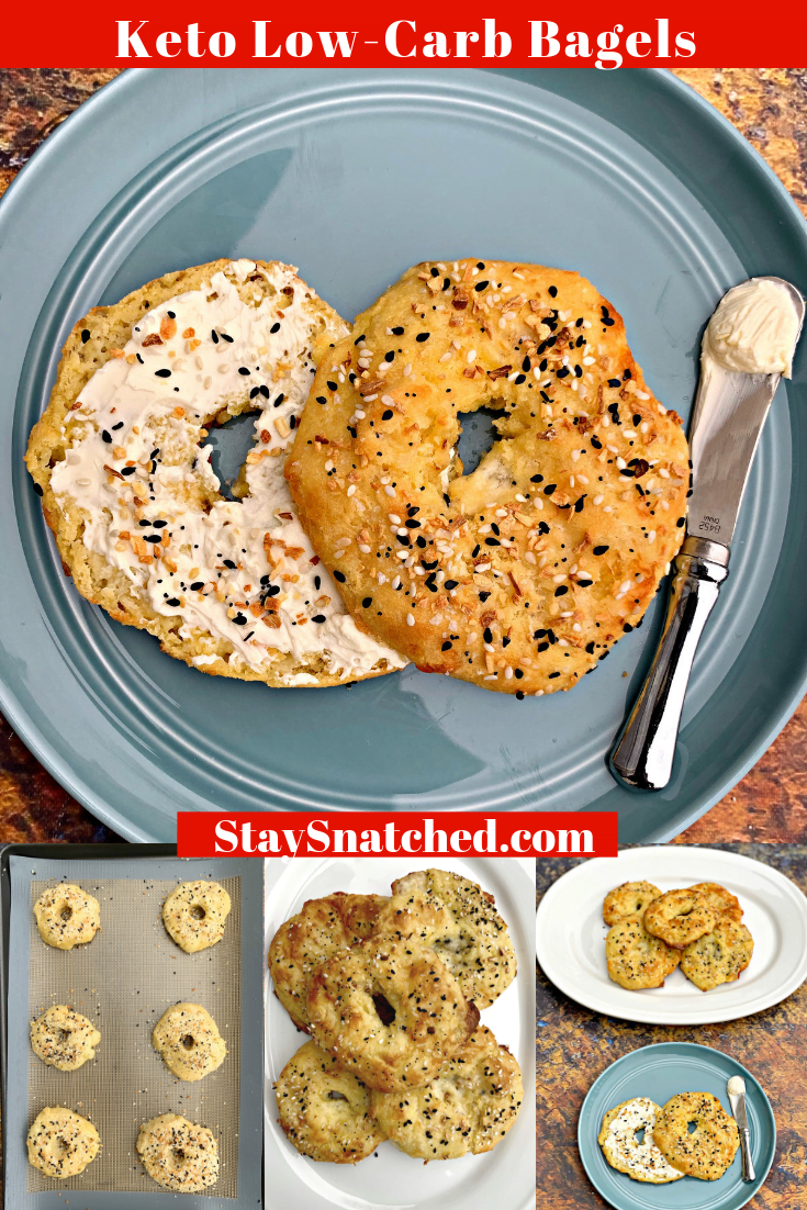 Easy, Keto Low-Carb Almond Flour Gluten-Free Bagels is the best quick recipe for fathead dough bagels that are practically carb-free. Each grain-free bagel is loaded with flavor and seasoned with Everything, But the Bagel Seasoning and has 2 net carbs. These bagels are not low-calorie, but provide a great option for low-carb, carb-free bread. #KetoRecipes #KetoBreakfast #KetoBagels