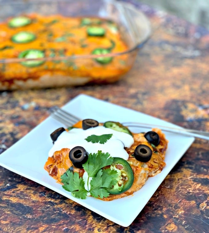 Easy, Keto Low-Carb Chicken and Cheese Enchilada Casserole