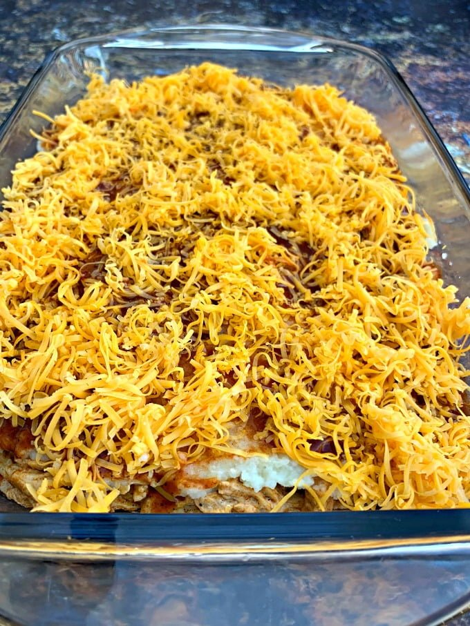 keto low carb enchilada casserole in a baking dish