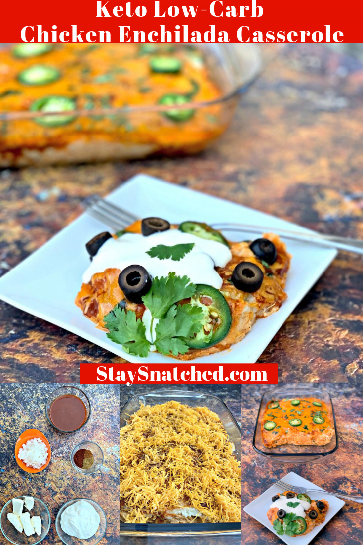 Easy, Keto Low-Carb Chicken and Cheese Enchilada Casserole is a quick dinner recipe with no-sugar sauce, cream cheese, sour cream, cauliflower, and taco seasoning. Best of all, this dish ditches the carbs and is prepared with no tortilla! You can turn this meal prep friendly dish into an enchilada bowl! Grab your skillet and get cooking! #KetoRecipes #KetoEnchiladas #KetoTacos