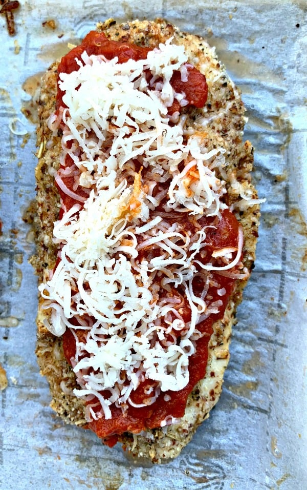 Easy Keto Low Carb Almond Crusted Chicken Parmesan With