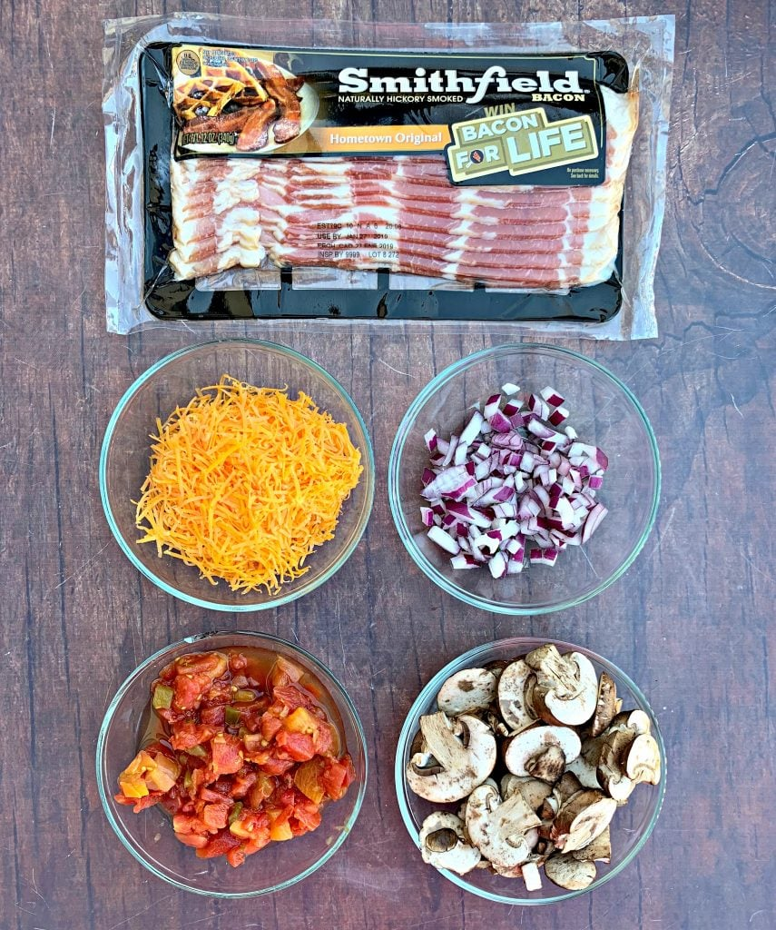 ingredients for keto low carb bacon stuffed peppers