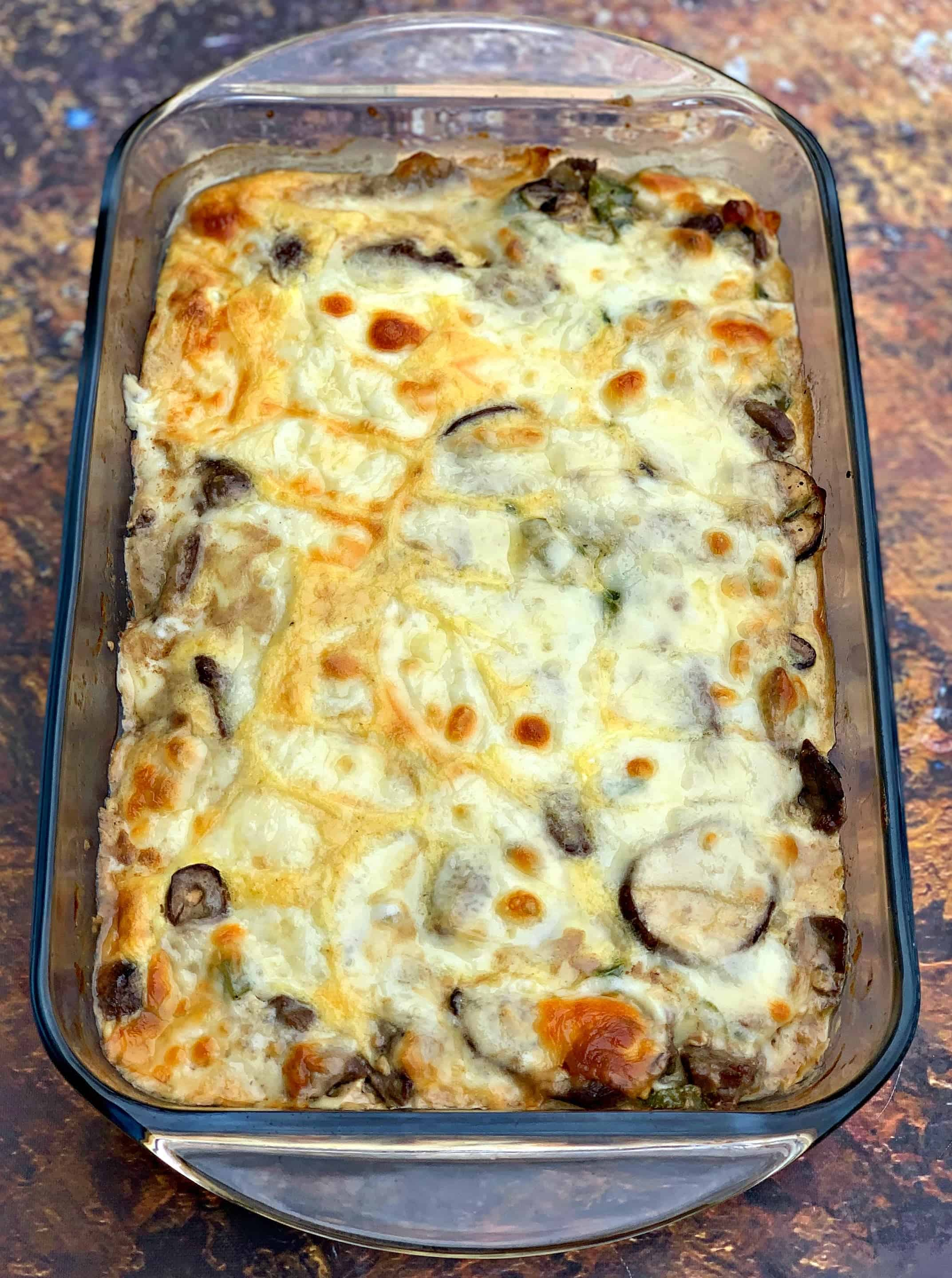 keto low carb philly cheesesteak in a glass pan