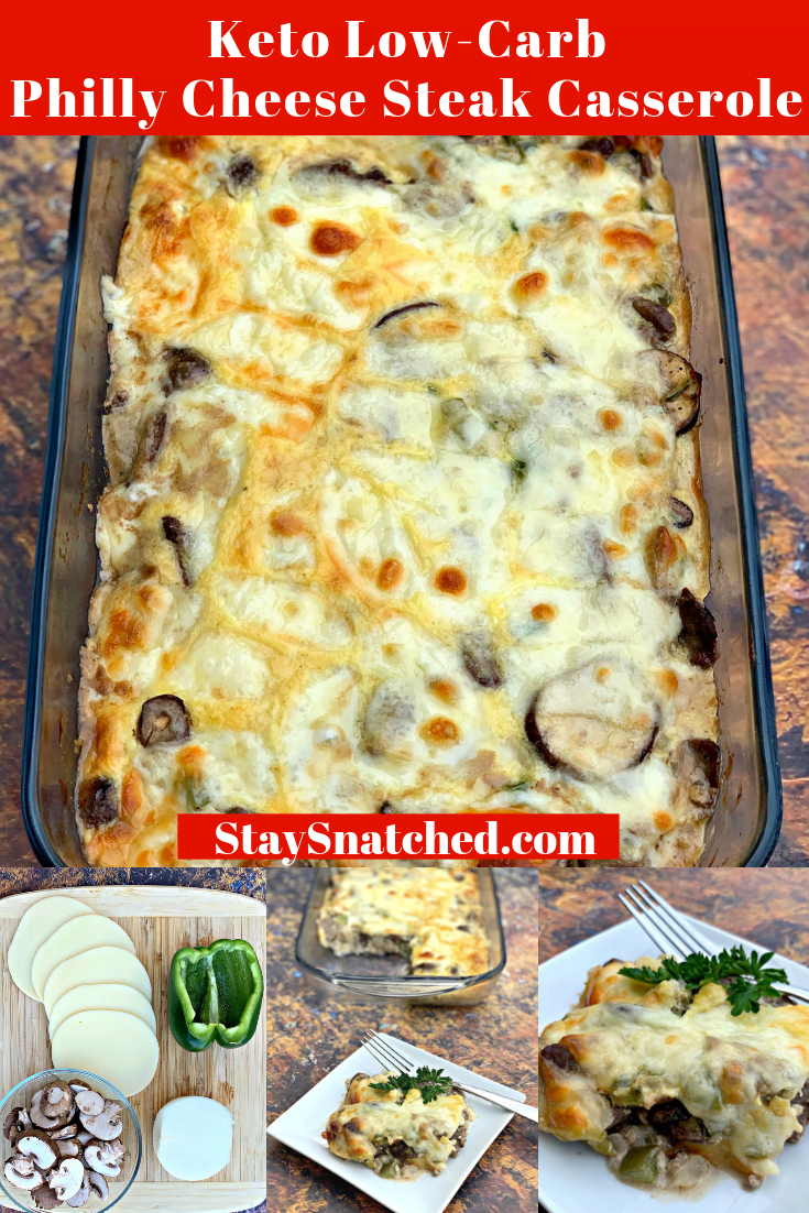 Keto Low-Carb Philly Cheese Steak Casserole is a quick and easy steak dinner recipe with sirloin steak, cream cheese, green bell peppers, and mushrooms. This is the best steak marinade recipe and you can also use flank steak if you wish. If you are looking for sides to pair with your steak, going the casserole route is perfect! Everything in one meal prep friendly dish.#KetoRecipes #KetoSteak