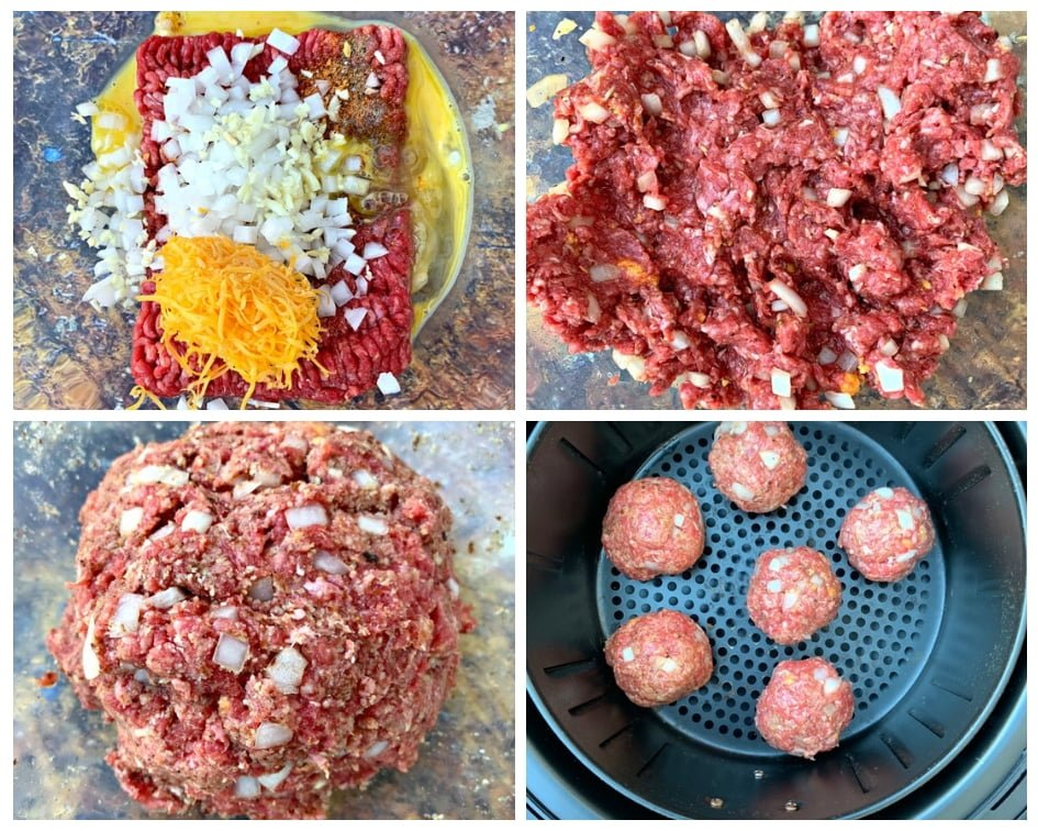 step by step photos of keto low carb air fryer meatballs
