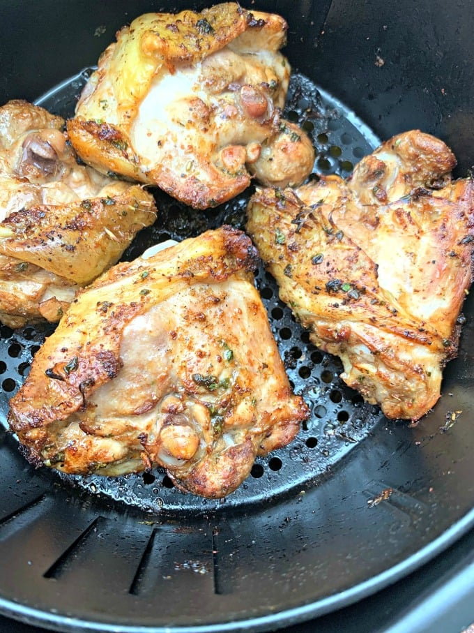air fryer keto low carb cilantro lime chicken thighs in an air fryer