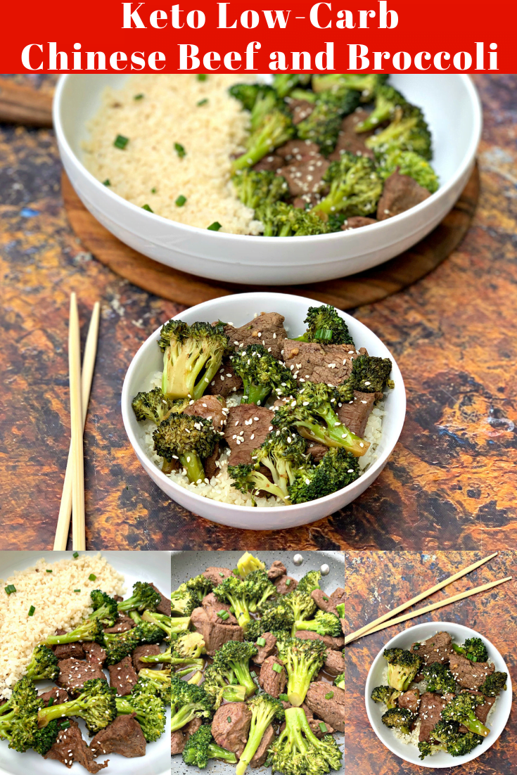 Keto Low Carb Chinese Beef and Broccoli Stir Fry (Paleo + Dairy-Free) is a quick and easy, healthy recipe that will illustrate how to make low carb Chinese food, beef and broccoli, and steak stir fry sauce. This recipe ditches the carbs and is made with sirloin steak, ginger, sesame oil, aminos, and paired with fried cauliflower rice. #KetoRecipes #KetoChineseFood