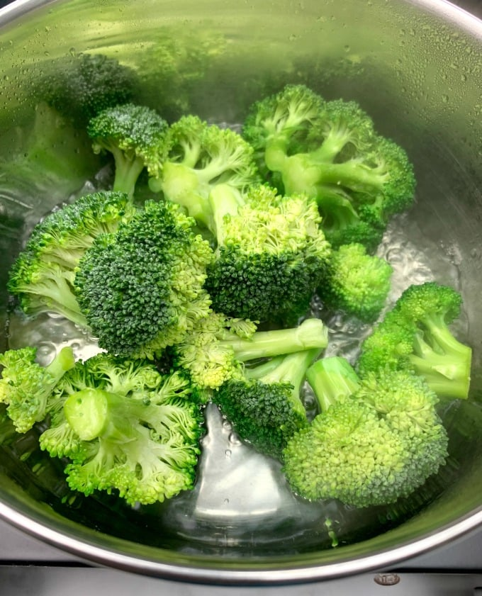 steamed broccoli in a saucepan