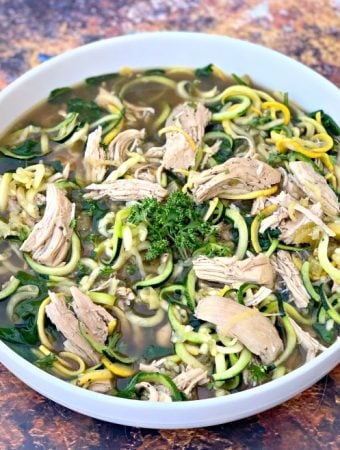 Keto Low-Carb Instant Pot Chicken Noodle (Zoodle) Soup