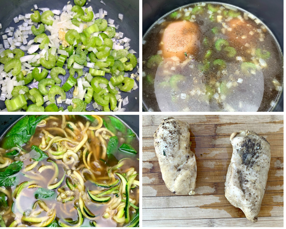 keto low carb chicken noodle soup with zucchini noodles in an instant pot