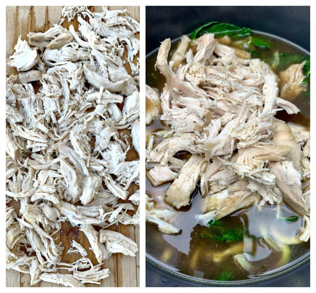 shredded chicken on a cutting board and in an instant pot