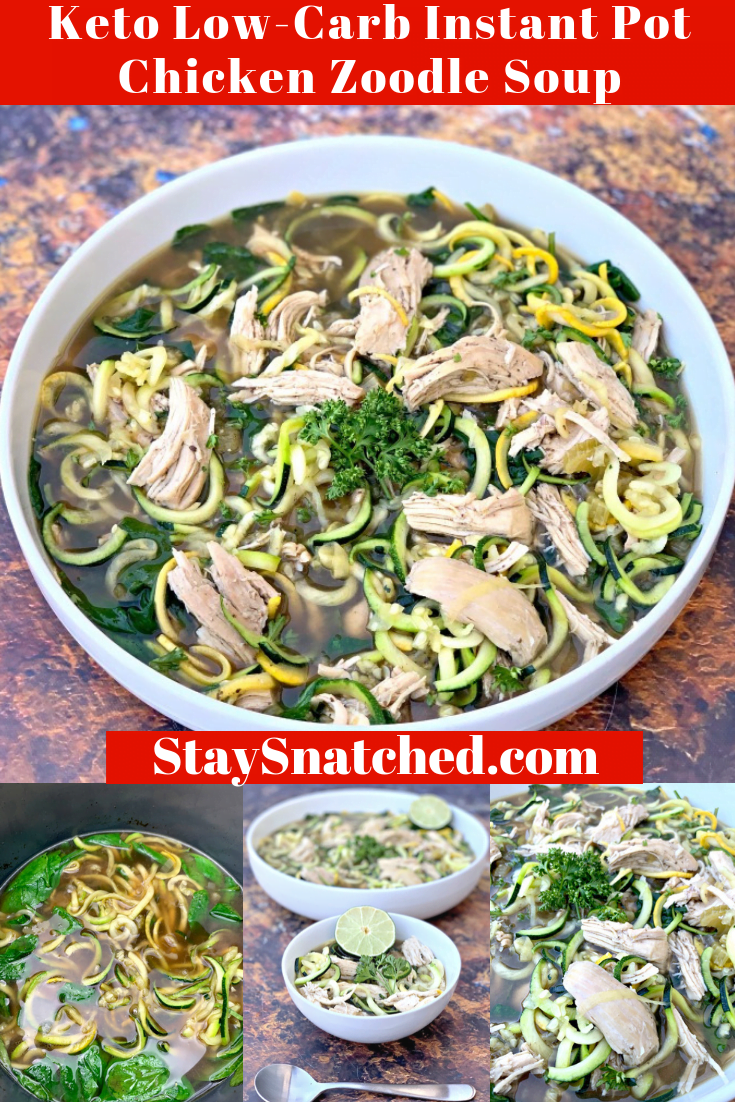 Keto Low-Carb Instant Pot Chicken Noodle (Zoodle) Soup is the best, healthy, no noodles soup that is made with zucchini. This homemade recipe can also be prepared in a Crockpot slow cooker and is made with bone broth, fresh veggies, and without rice. There are 7 net carbs in this soup. This post also outlines what soups you can eat on keto. #InstantPotRecipes #KetoRecipes