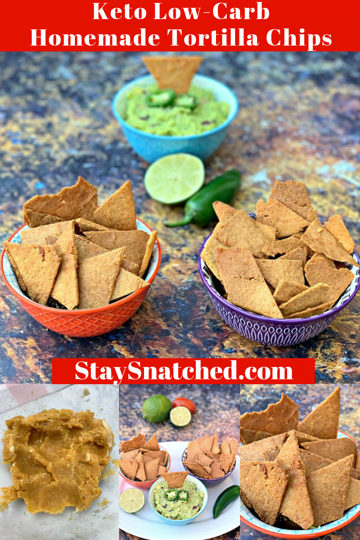 Keto Low-Carb Gluten-Free Homemade Tortilla Chips are a quick and easy recipe that uses a handful of ingredients. These crispy, crunchy chips are made with almond flour, Himalayan salt, and mozzarella and are practically no carb/carb free. You can also make crackers using the dough. The post also includes information on where to buy keto chips and what brands to look out for. #KetoRecipes #KetoTortillaChips