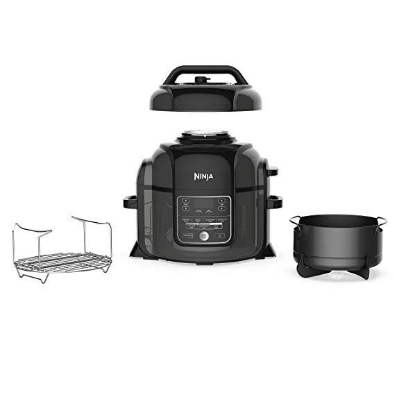 Ninja Foodi 1400-Watt Multi Cooker, Pressure Cooker, Steamer & Air Fryer w/ TenderCrisp Technology, Pressure & Crisping Lid, 6.5 Qt Pot (OP301), Black/Gray