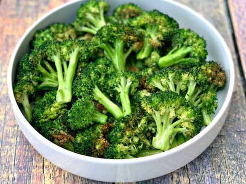 Easy Air Fryer Roasted Broccoli + {Cooking VIDEO}