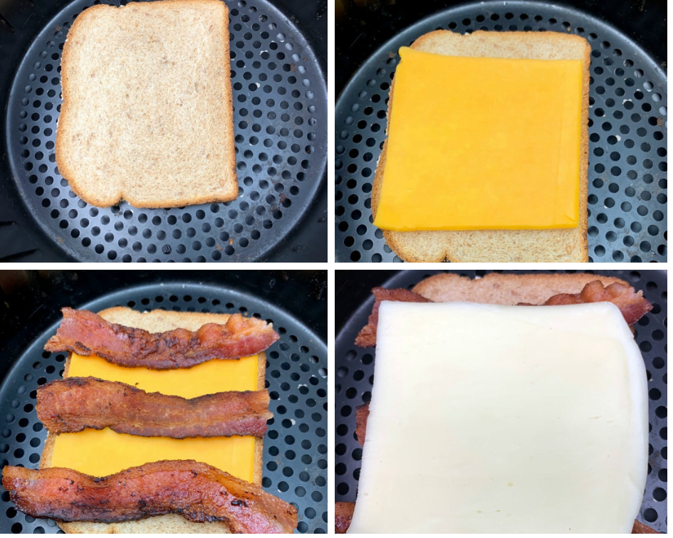 bread in an air fryer with cheese and bacon