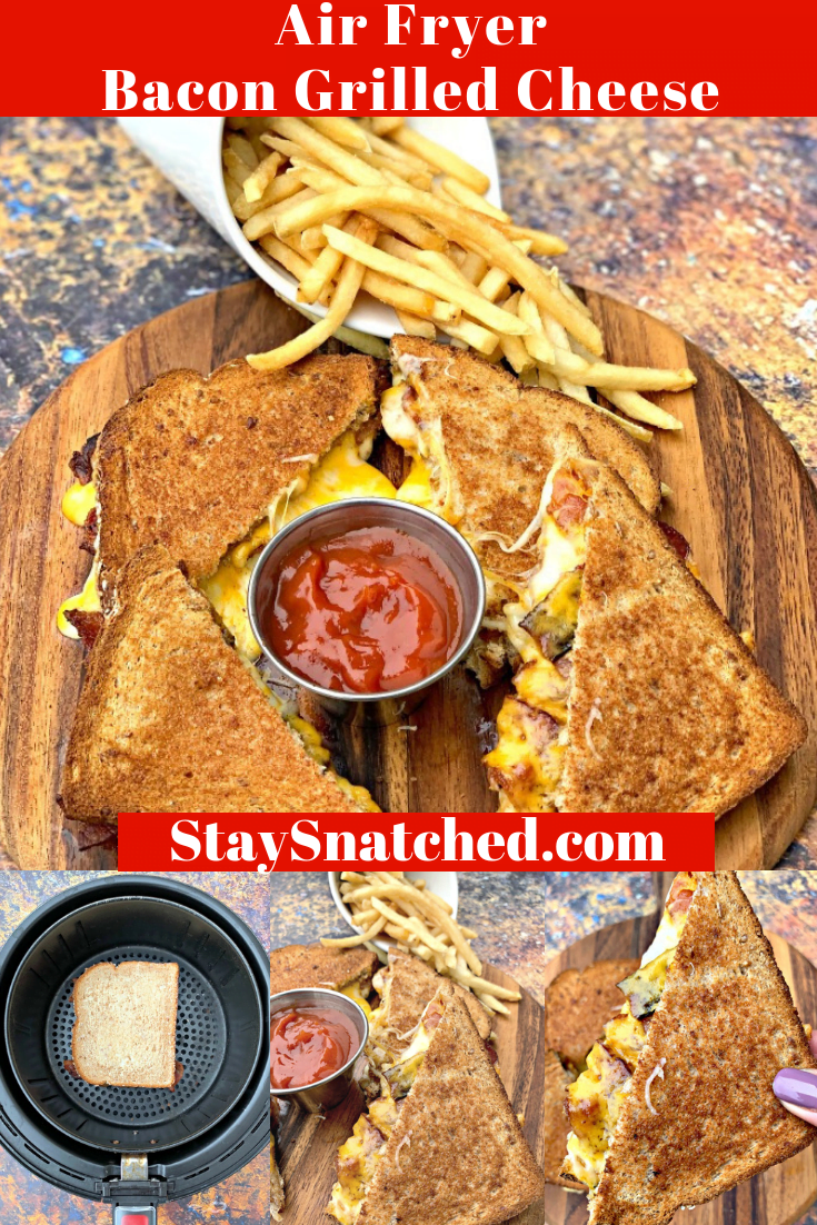Easy Air Fryer Bacon Grilled Cheese is a quick,kid-friendly recipe that will show you how to make and cook a grilled cheese sandwich in an air fryer using Power Air Fryer, Air Fryer Oven, Nuwave, or any brand. This grilled cheese makes the perfect panini for breakfast, lunch or dinner! #AirFryerRecipes #AirFryerGrilledCheese