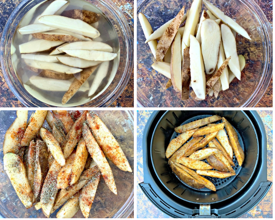 sliced potatoes in water and a clear bowl and in an air fryer