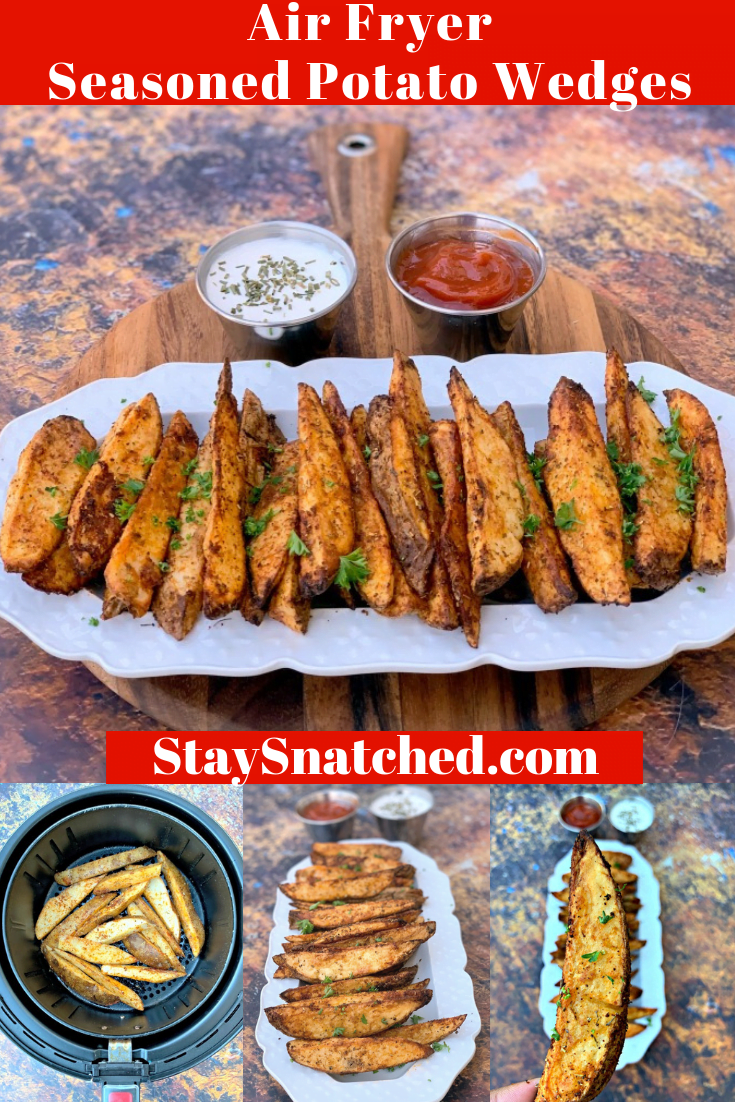 Easy Air Fryer Seasoned Potato Wedges is a quick and healthy recipe that uses fresh-cut russet potatoes, Herbes de Provenceseasoning, and smoked paprika to produce crispy potato wedges with a soft interior. You can use your Power Air Fryer XL, Nuwave, or any brand for this dish. If you love KFC wedges or homemade French fries, you will love these! You can also use red potatoes or Yukon gold. #AirFryer #AirFryerPotatoWedges