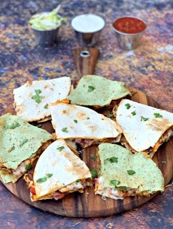 Easy Air Fryer Chicken and Cheese Taco Quesadillas