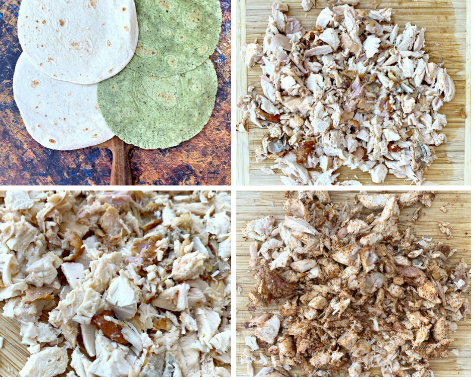 flour tortilla shells on a board board and cooked, shredded chicken on a cutting board