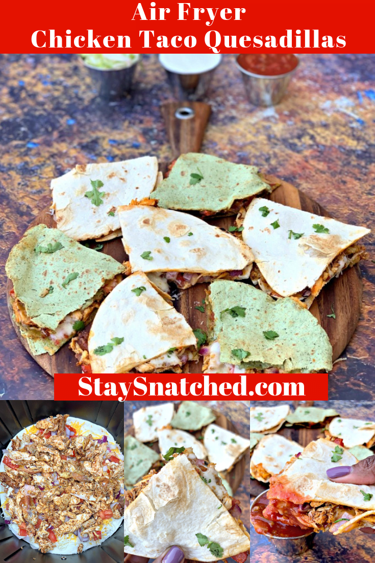 Easy Air Fryer Chicken and Cheese Taco Quesadillas is a quick, kid-friendly recipe. This post outlines how long to cook cheese quesadillas in the air fryer. This Mexican appetizer is loaded with rotisserie chicken, chili powder, cumin, and gooey cheese. #AirFryerRecipes #AirFryerTacos