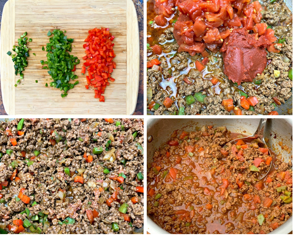 chopped vegetables and ingredients for keto beef chili