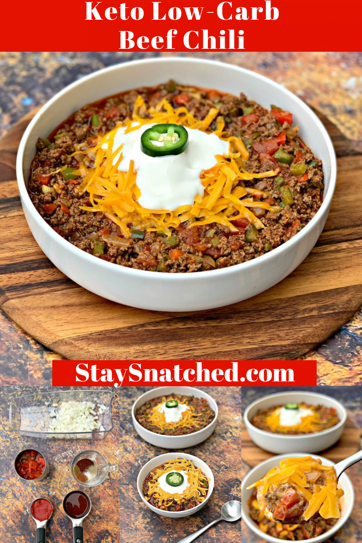 Easy, Keto Low-Carb Beef Chili is the best quick recipe that is loaded with spices, seasonings, beef broth, and Rotel. This hearty chili is made stovetop and is perfect for weeknight dinners or meal prep. This post will show you how to make keto chili loaded with flavor without beans. Top this with bacon, sour cream, shredded cheese, avocados, or more! #KetoRecipes #KetoChili