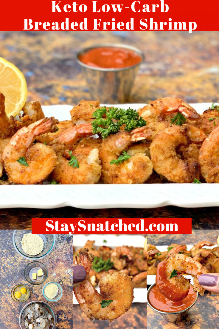 Keto Low-Carb Parmesan Breaded Pan Fried Shrimp is a quick,healthy, and gluten-free recipe that uses almond flour and only a handful of ingredients to make crispy and crunchy shrimp. Toss these shrimp on salads, in tacos, or serve them with sugar-free, low carb cocktail sauce. #KetoRecipes #KetoFriedShrimp